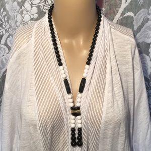 "Jewelry - Necklace White Black & Gold 30"" Screw Clasp"